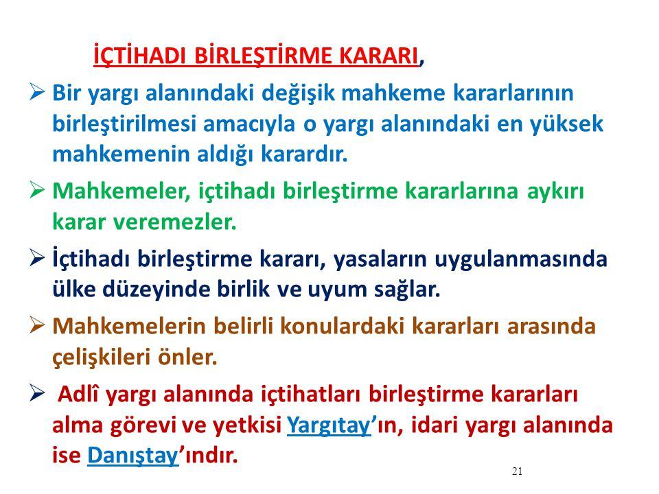 İÇTİHADI BİRLEŞTİRME KARARI,