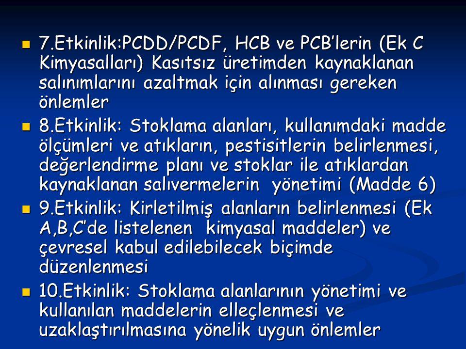 7.Etkinlik:PCDD/PCDF, HCB ve PCB'lerin (Ek C Kimyasalları) Kasıtsız üretimden kaynaklanan salınımlarını azaltmak için alınması gereken önlemler