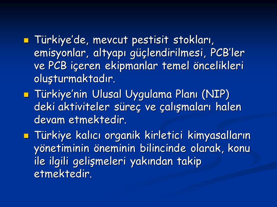 Türkiye'de, mevcut pestisit stokları, emisyonlar, altyapı güçlendirilmesi, PCB'ler ve PCB içeren ekipmanlar temel öncelikleri oluşturmaktadır.