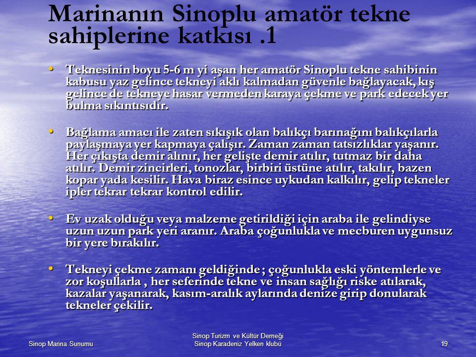 Marinanın Sinoplu amatör tekne sahiplerine katkısı .1