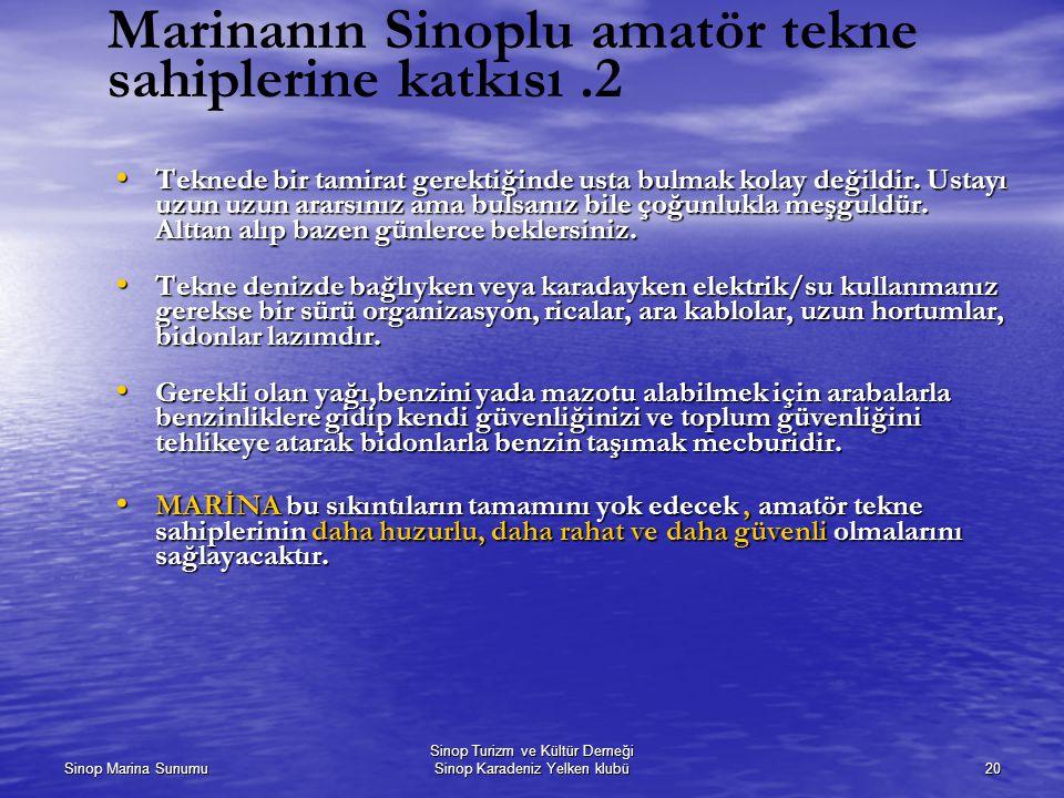 Marinanın Sinoplu amatör tekne sahiplerine katkısı .2