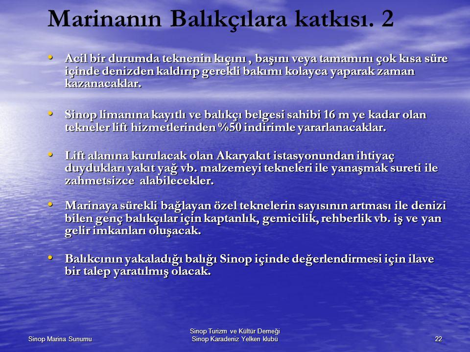 Marinanın Balıkçılara katkısı. 2