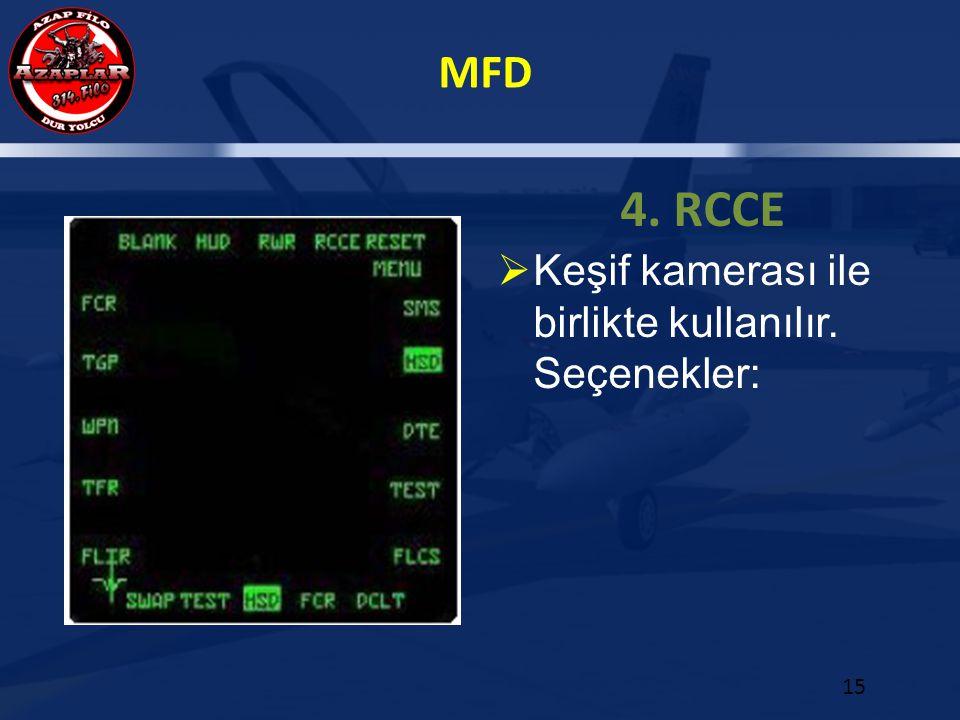 4. RCCE Keşif kamerası ile birlikte kullanılır. Seçenekler: