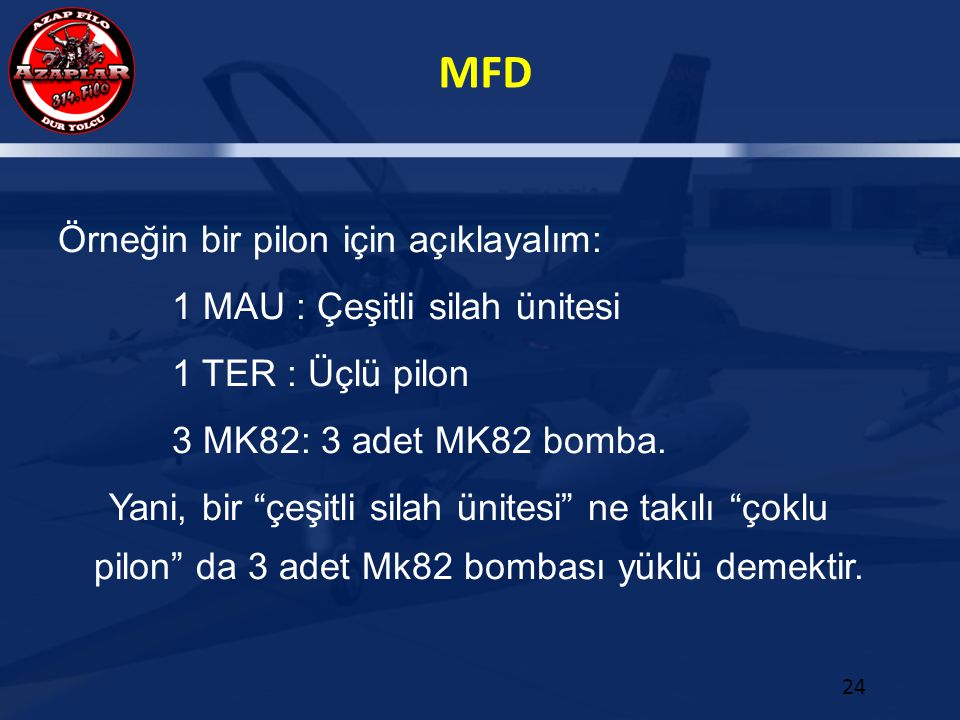 Örneğin bir pilon için açıklayalım: 1 MAU : Çeşitli silah ünitesi 1 TER : Üçlü pilon 3 MK82: 3 adet MK82 bomba.