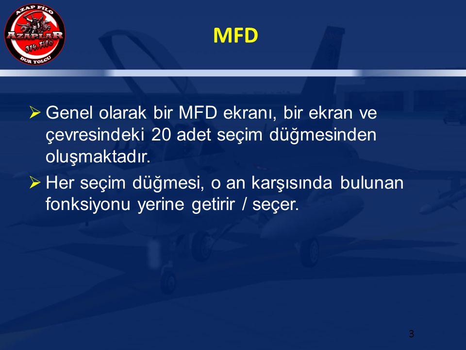 Genel olarak bir MFD ekranı, bir ekran ve çevresindeki 20 adet seçim düğmesinden oluşmaktadır.