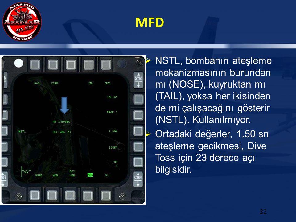 NSTL, bombanın ateşleme mekanizmasının burundan mı (NOSE), kuyruktan mı (TAIL), yoksa her ikisinden de mi çalışacağını gösterir (NSTL). Kullanılmıyor.