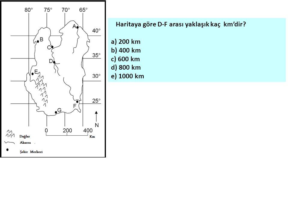 Haritaya göre D-F arası yaklaşık kaç km'dir