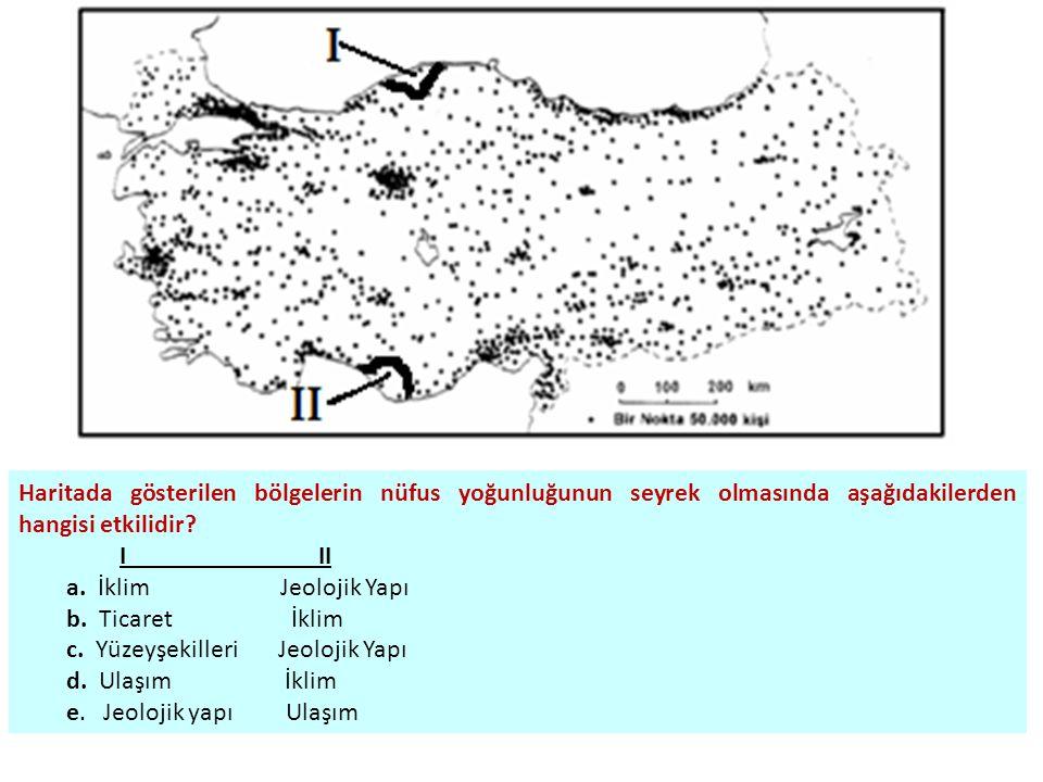 Haritada gösterilen bölgelerin nüfus yoğunluğunun seyrek olmasında aşağıdakilerden hangisi etkilidir