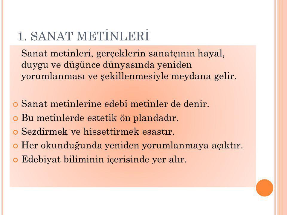 1. SANAT METİNLERİ