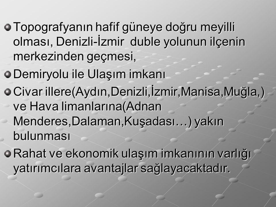 Topografyanın hafif güneye doğru meyilli olması, Denizli-İzmir duble yolunun ilçenin merkezinden geçmesi,