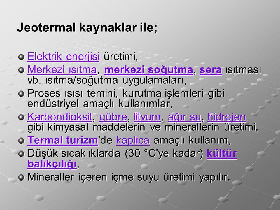 Jeotermal kaynaklar ile;