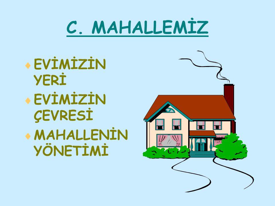 C. MAHALLEMİZ EVİMİZİN YERİ EVİMİZİN ÇEVRESİ MAHALLENİN YÖNETİMİ