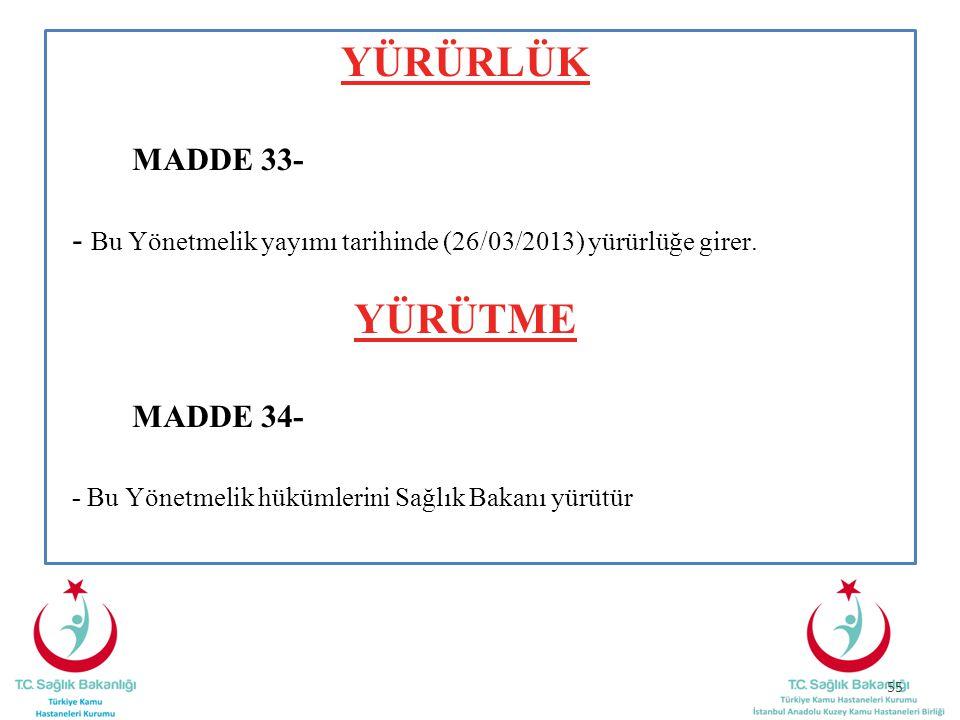 YÜRÜRLÜK YÜRÜTME MADDE 33-
