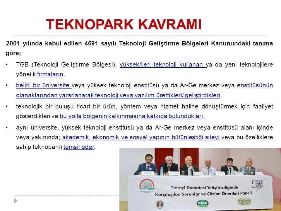 TEKNOPARK KAVRAMI 2001 yılında kabul edilen 4691 sayılı Teknoloji Geliştirme Bölgeleri Kanunundaki tanıma göre;