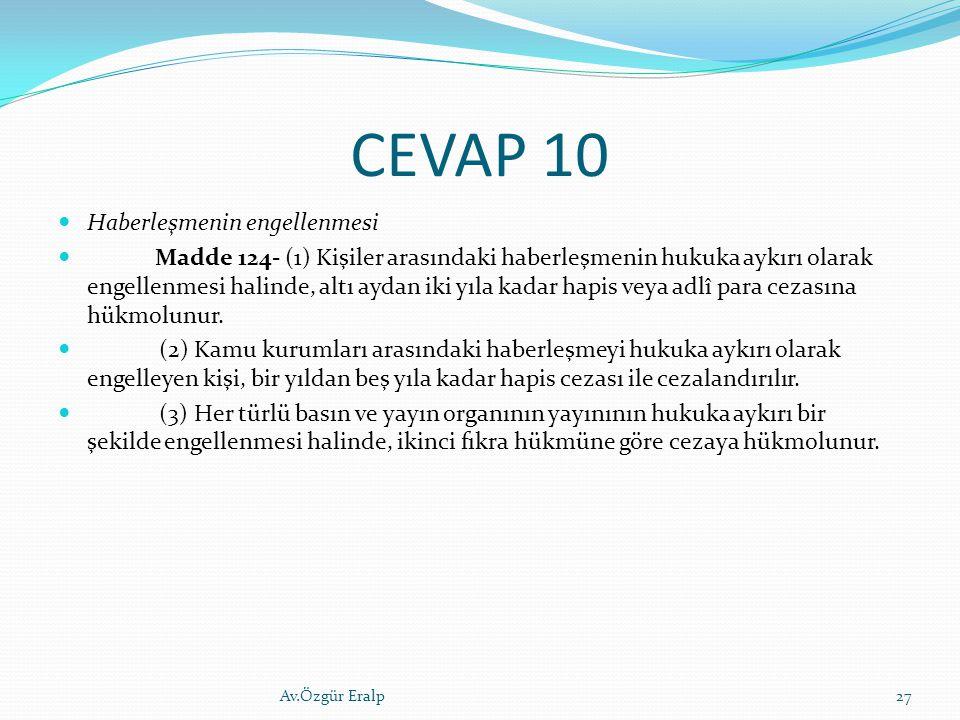CEVAP 10 Haberleşmenin engellenmesi