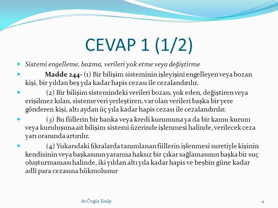 CEVAP 1 (1/2) Sistemi engelleme, bozma, verileri yok etme veya değiştirme.