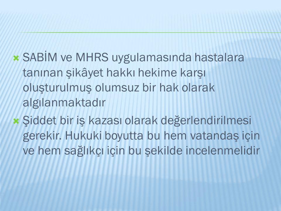 SABİM ve MHRS uygulamasında hastalara tanınan şikâyet hakkı hekime karşı oluşturulmuş olumsuz bir hak olarak algılanmaktadır