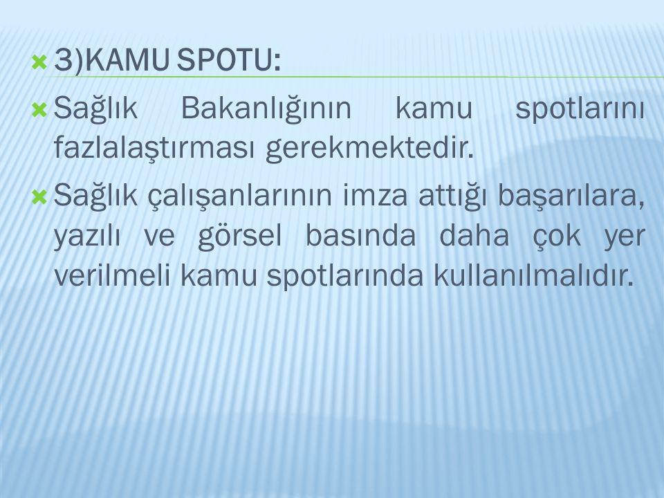 3)KAMU SPOTU: Sağlık Bakanlığının kamu spotlarını fazlalaştırması gerekmektedir.