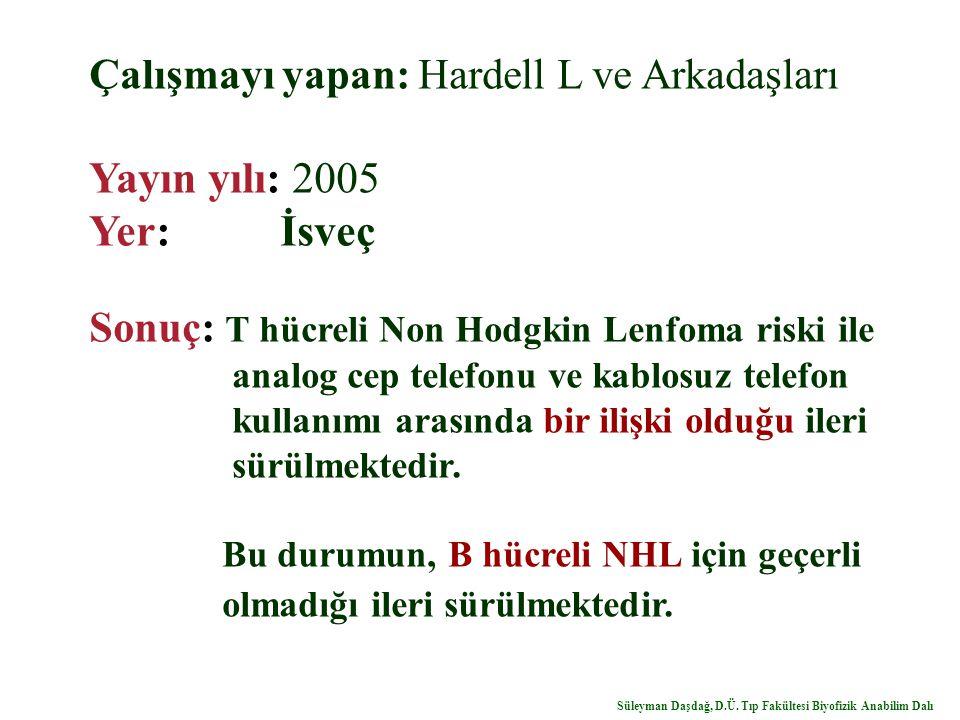 Yayın yılı: 2005 Yer: İsveç Çalışmayı yapan: Hardell L ve Arkadaşları