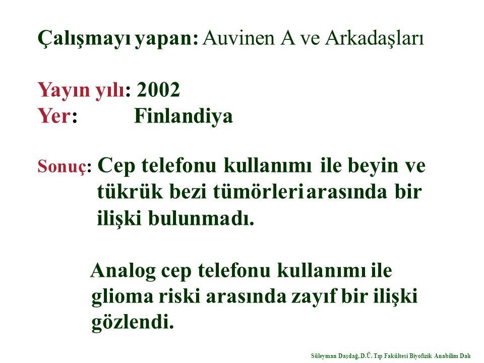 Yer: Finlandiya Çalışmayı yapan: Auvinen A ve Arkadaşları