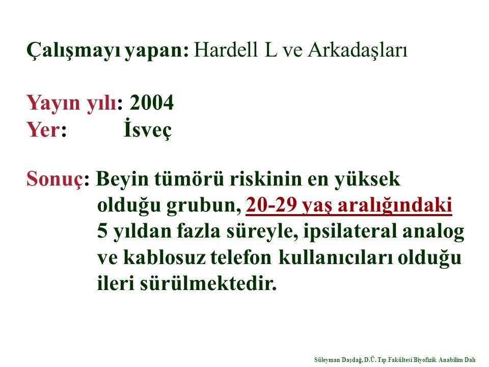 Yayın yılı: 2004 Yer: İsveç Çalışmayı yapan: Hardell L ve Arkadaşları