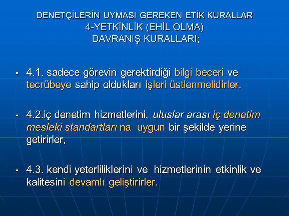 DENETÇİLERİN UYMASI GEREKEN ETİK KURALLAR 4-YETKİNLİK (EHİL OLMA) DAVRANIŞ KURALLARI;