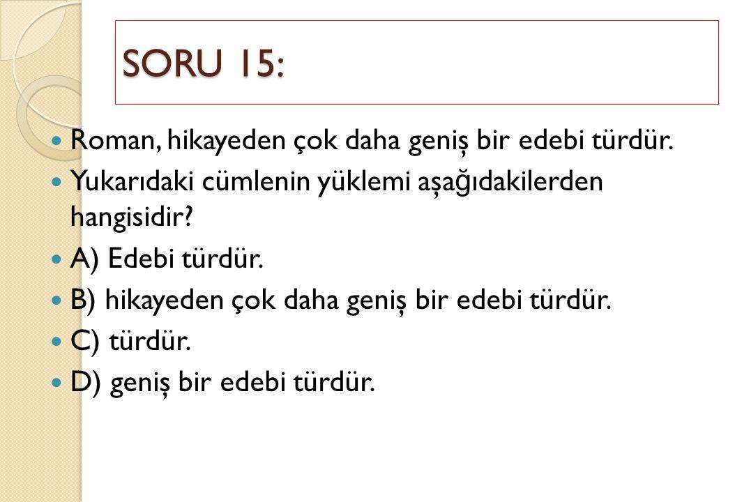 SORU 15: Roman, hikayeden çok daha geniş bir edebi türdür.