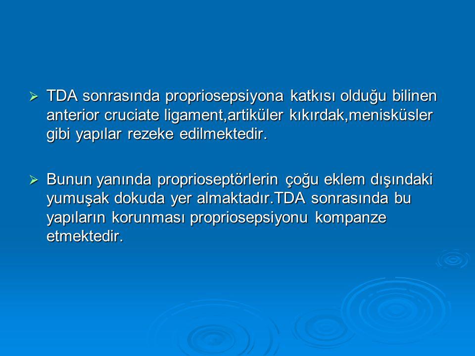 TDA sonrasında propriosepsiyona katkısı olduğu bilinen anterior cruciate ligament,artiküler kıkırdak,menisküsler gibi yapılar rezeke edilmektedir.