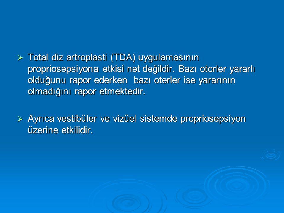 Total diz artroplasti (TDA) uygulamasının propriosepsiyona etkisi net değildir. Bazı otorler yararlı olduğunu rapor ederken bazı oterler ise yararının olmadığını rapor etmektedir.