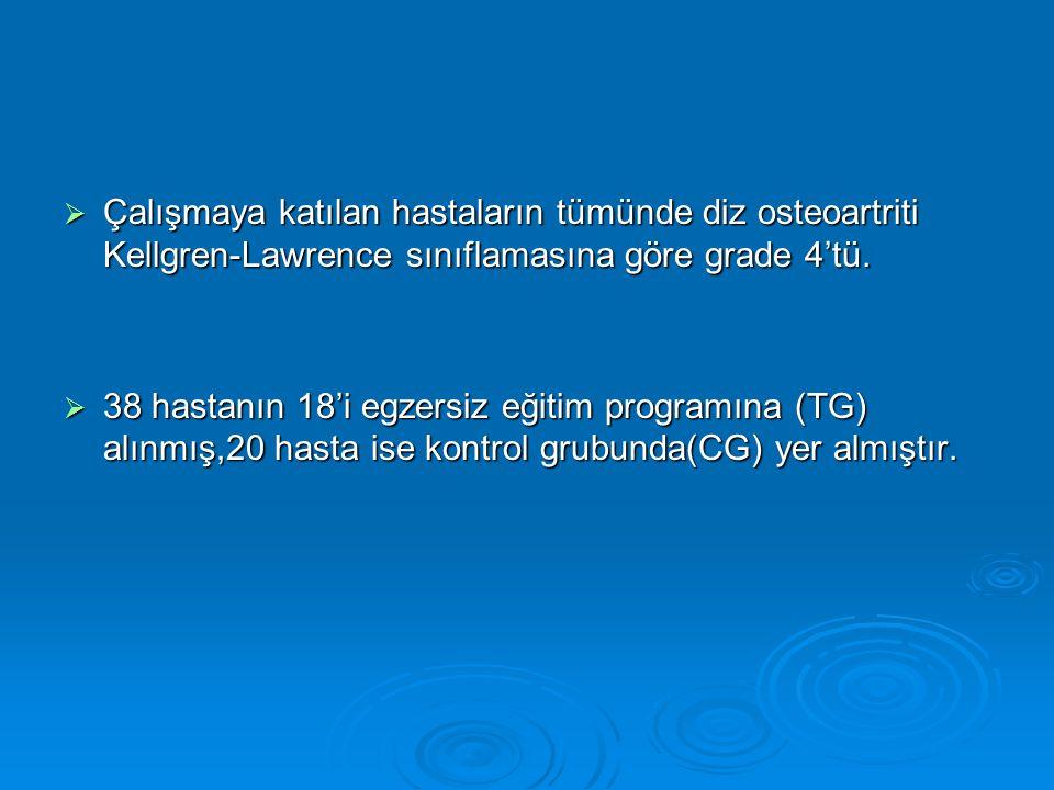 Çalışmaya katılan hastaların tümünde diz osteoartriti Kellgren-Lawrence sınıflamasına göre grade 4'tü.