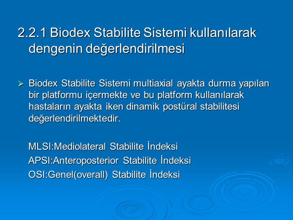 2.2.1 Biodex Stabilite Sistemi kullanılarak dengenin değerlendirilmesi