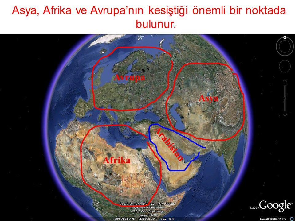 Asya, Afrika ve Avrupa'nın kesiştiği önemli bir noktada bulunur.