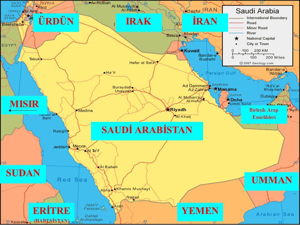 ÜRDÜN IRAK İRAN MISIR SAUDİ ARABİSTAN SUDAN UMMAN ERİTRE YEMEN