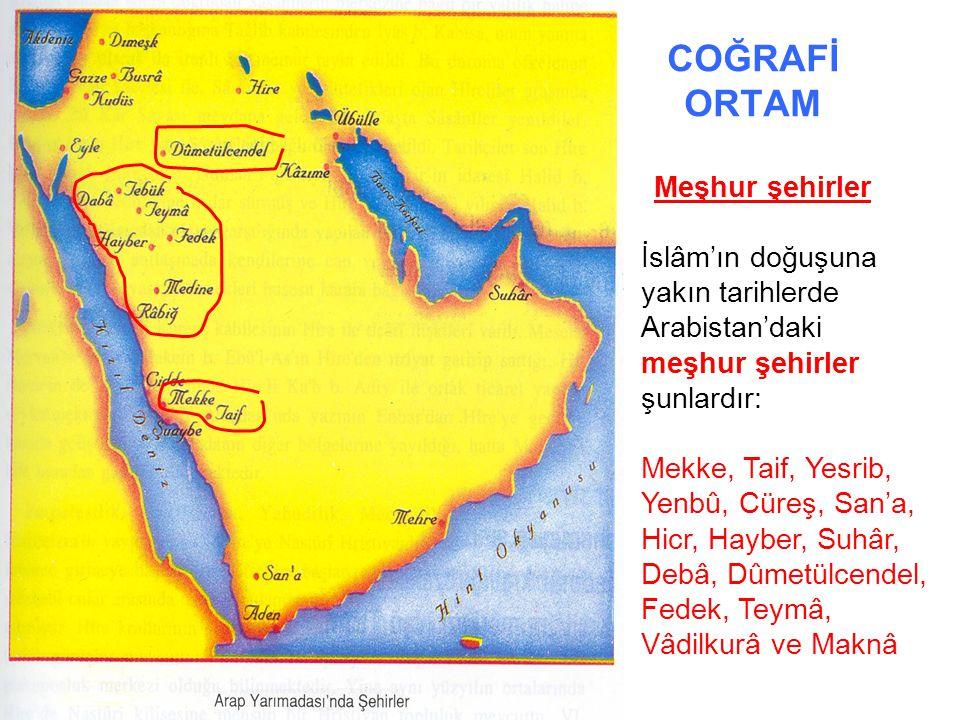 COĞRAFİ ORTAM Meşhur şehirler. İslâm'ın doğuşuna yakın tarihlerde Arabistan'daki meşhur şehirler şunlardır:
