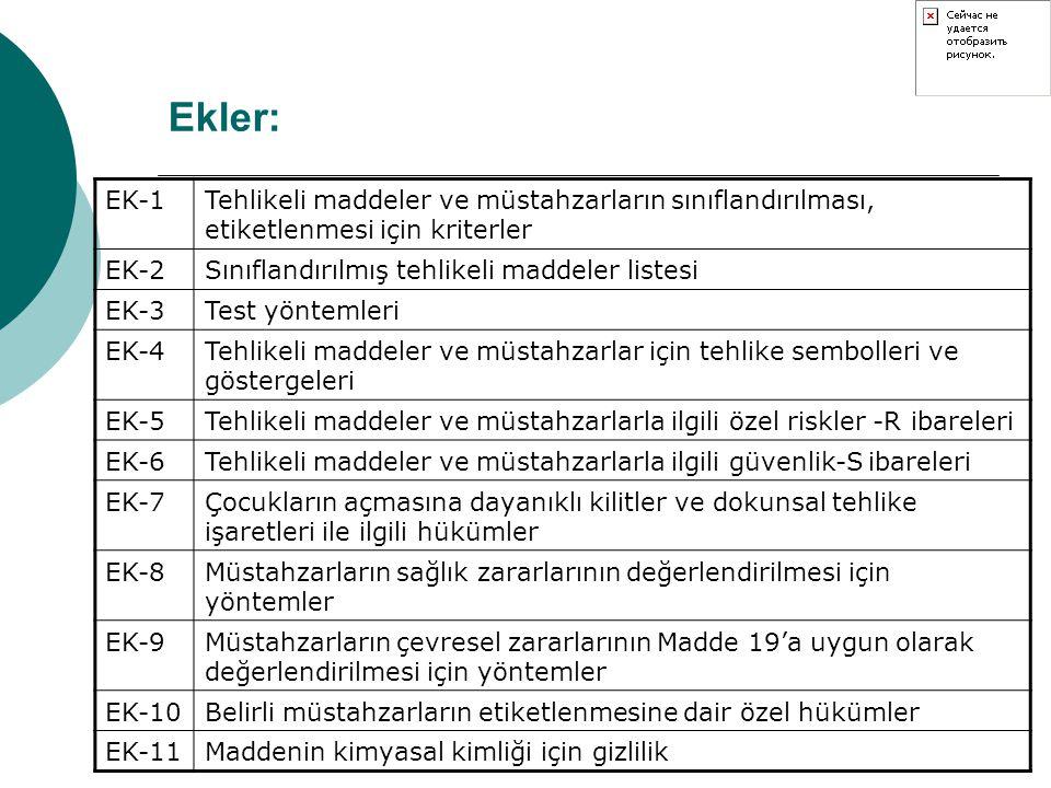 Ekler: EK-1. Tehlikeli maddeler ve müstahzarların sınıflandırılması, etiketlenmesi için kriterler.