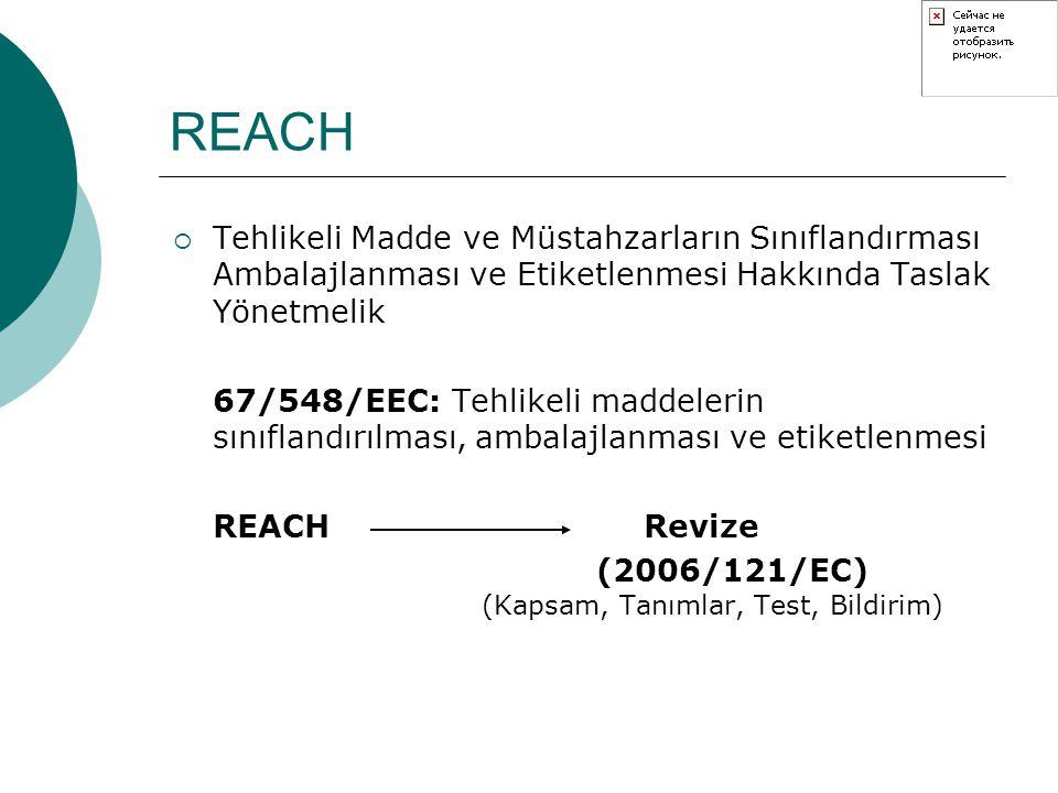 REACH Tehlikeli Madde ve Müstahzarların Sınıflandırması Ambalajlanması ve Etiketlenmesi Hakkında Taslak Yönetmelik.