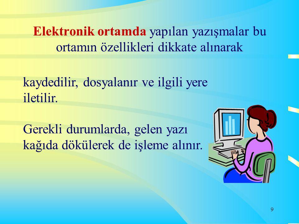 Elektronik ortamda yapılan yazışmalar bu ortamın özellikleri dikkate alınarak