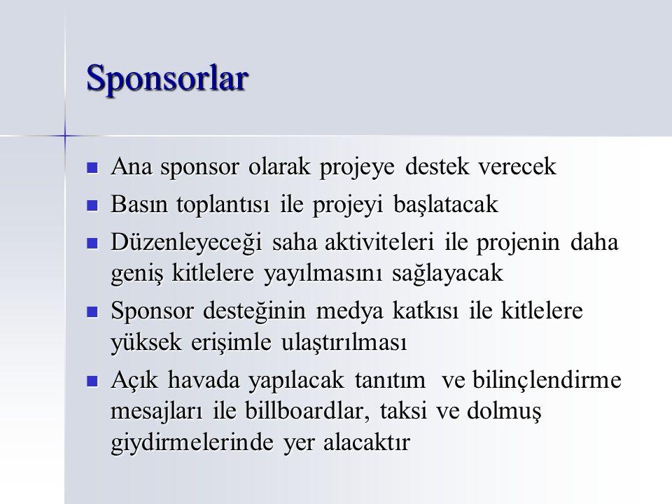 Sponsorlar Ana sponsor olarak projeye destek verecek