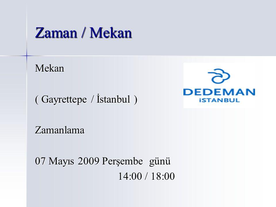 Zaman / Mekan Mekan ( Gayrettepe / İstanbul ) Zamanlama