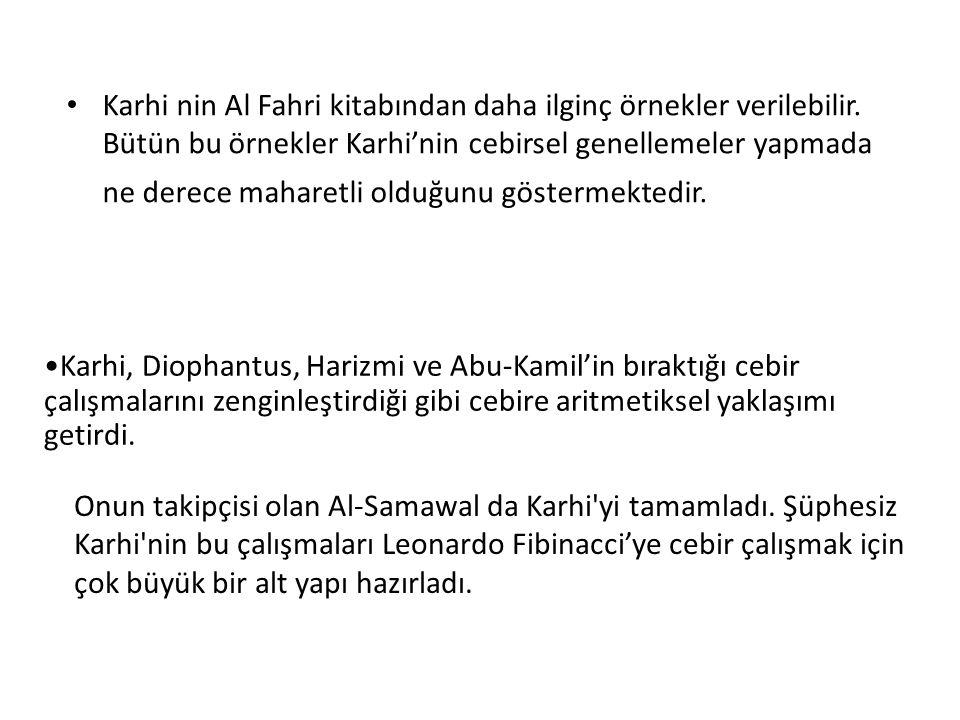 Karhi nin Al Fahri kitabından daha ilginç örnekler verilebilir