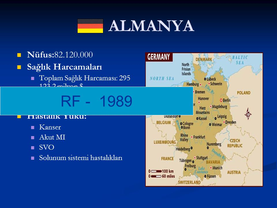 ALMANYA RF - 1989 Nüfus:82.120.000 Sağlık Harcamaları Hastalık Yükü: