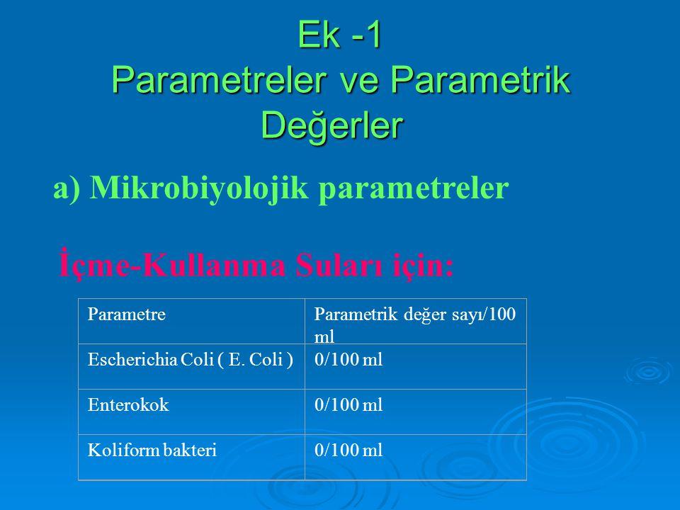 Ek -1 Parametreler ve Parametrik Değerler