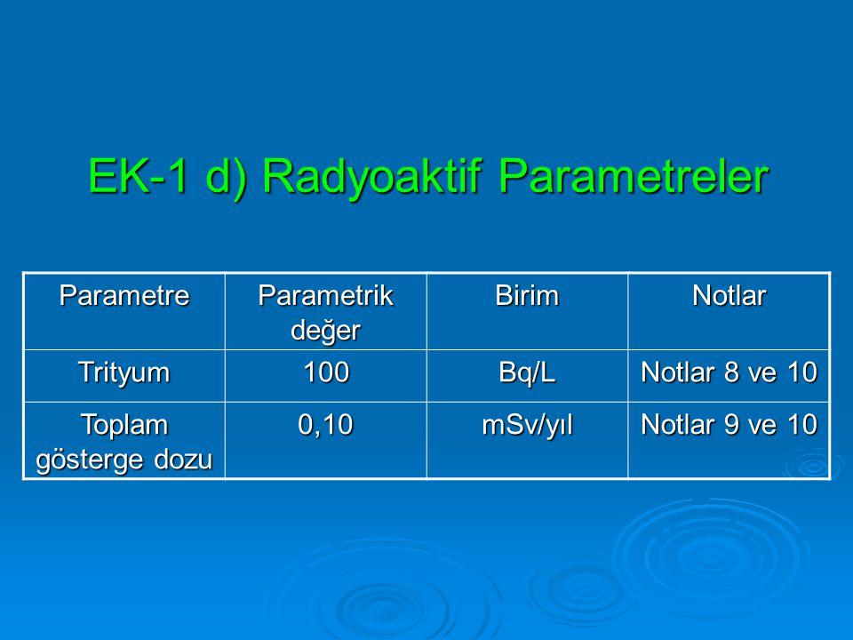 EK-1 d) Radyoaktif Parametreler