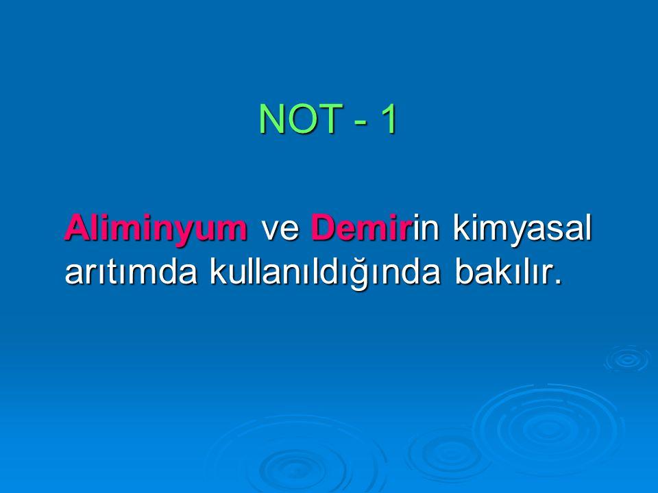 NOT - 1 Aliminyum ve Demirin kimyasal arıtımda kullanıldığında bakılır.