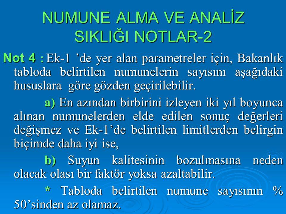 NUMUNE ALMA VE ANALİZ SIKLIĞI NOTLAR-2