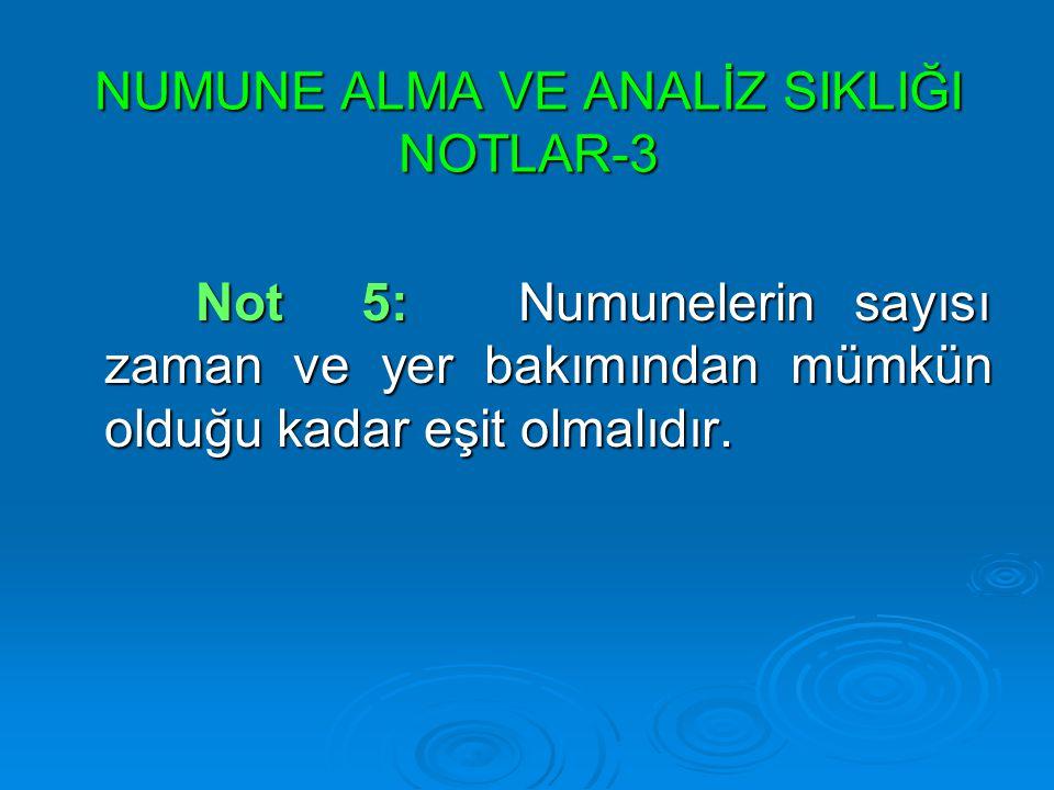 NUMUNE ALMA VE ANALİZ SIKLIĞI NOTLAR-3