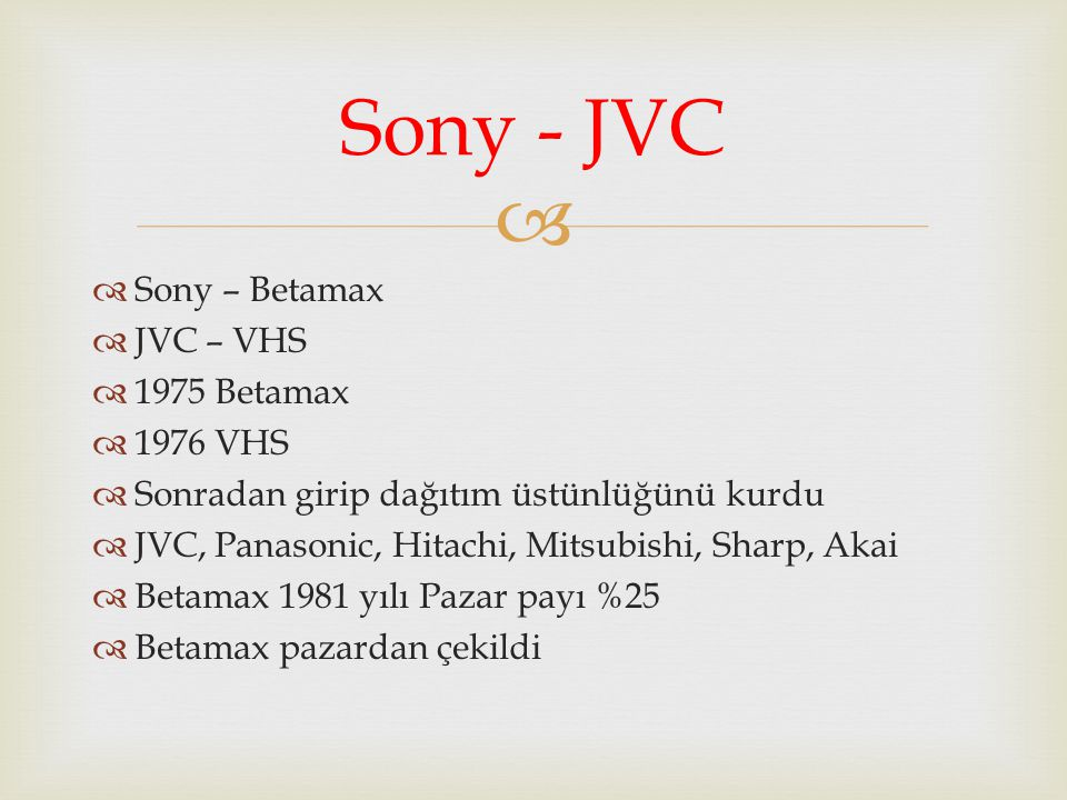 Sony - JVC Sony – Betamax JVC – VHS 1975 Betamax 1976 VHS