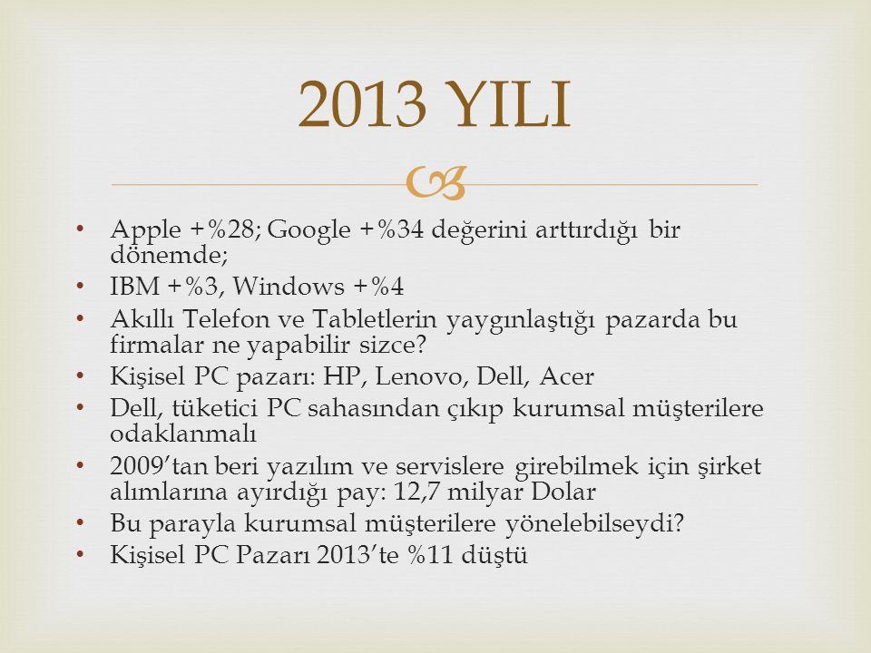2013 YILI Apple +%28; Google +%34 değerini arttırdığı bir dönemde;