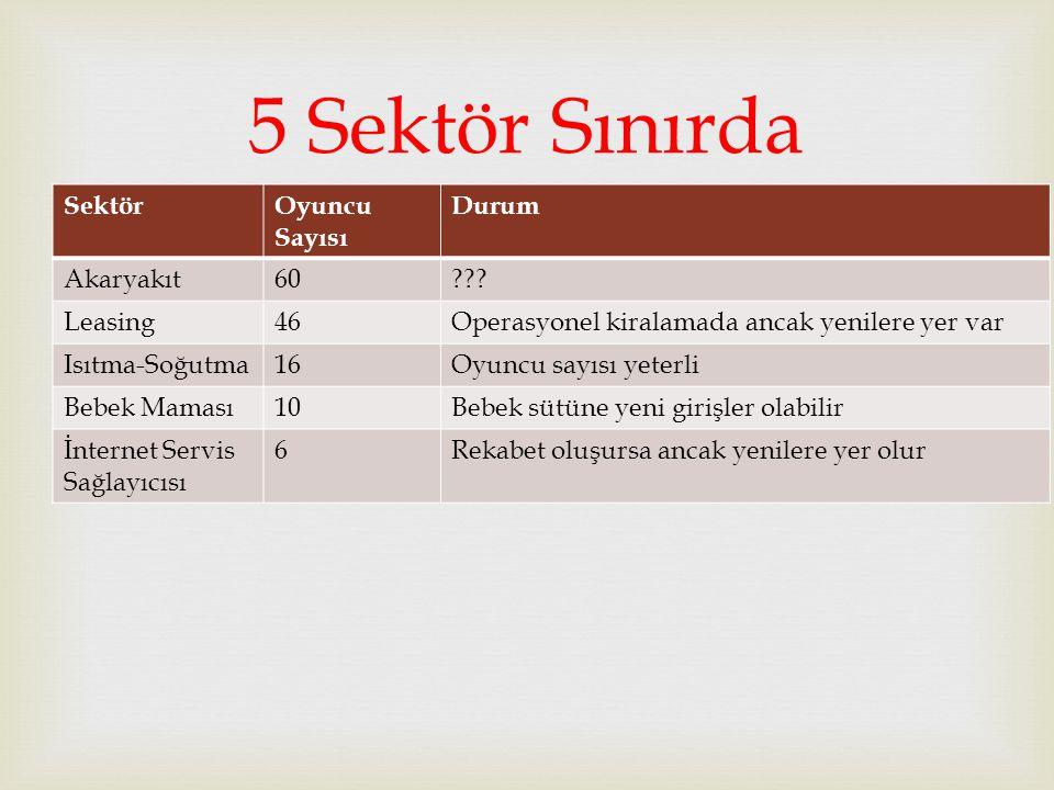 5 Sektör Sınırda Sektör Oyuncu Sayısı Durum Akaryakıt 60 Leasing