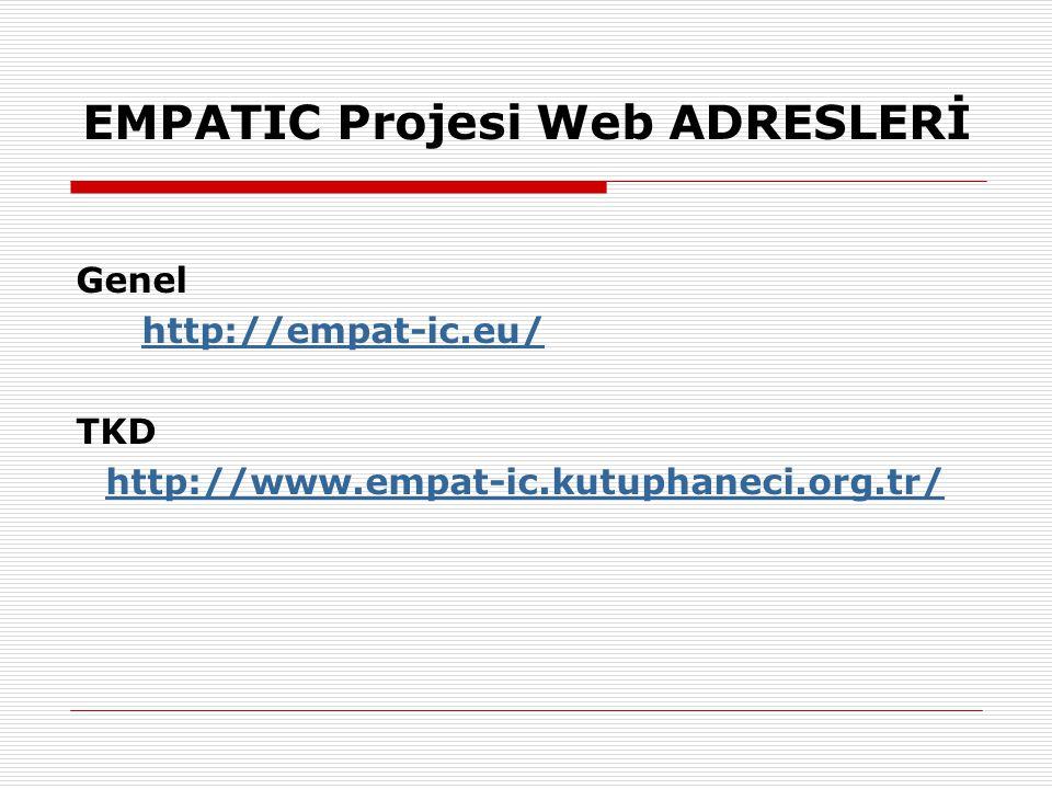 EMPATIC Projesi Web ADRESLERİ